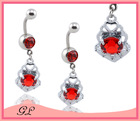 Pretty hot!Red colorful fashion navel belly button ring body jewelry making supplies