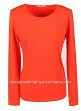 OEM 100% Cotton basic long sleeve round neck t-shirt women