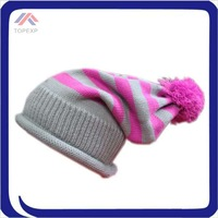 acrylic knitted multi color strip beanie hats with pompom