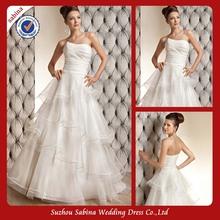 SWA0024 China Custom Made White Layered Strapless Puffy Ruffle Wedding Dress Patterns