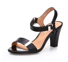 Classic ladies black buckle strap high heel sandal shoes women thick heels sandals ladies sexy party wear high heel sandals