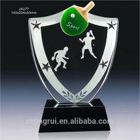 good crystal table tennis shield trophy JA277