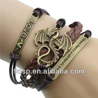 2014 fashion jewelry one direction charms infinity leather bracelets alibaba JB1325