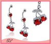 Sexy red cherry steel body jewelry navel piercing pendants