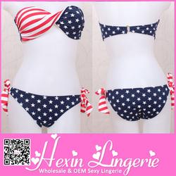 2014 Latest cheap sexy american flag bikinis