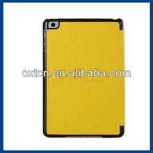 Faux Leather Folding Protective Case for iPad Mini (Yellow)