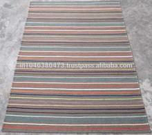 Stripes design flat weave Sage Green/Multi wool rug