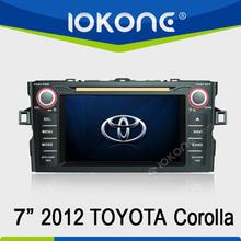"7"" HD Touch screen 2 din toyota corolla 2012 car dvd gps bluetooth with gps, TMC, camera, mic, dvb-t"