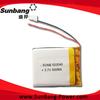 lipo battery mp3 players with long battery life 3.7v 500mah li-polymer battery