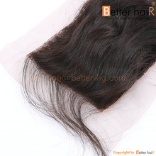 """2014 hot selling 4""""x4"""" Full cuticle Indian virgin lace closure, body wave, free part"""