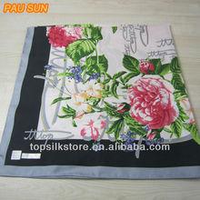 2015 Beautiful twill silk scarf digital printed 100% silk twill square scarf 90*90