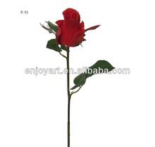 "21.5""Good quality Silk Artificial Flower PU flower Rose Flower Spray"