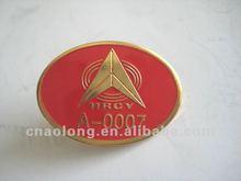 gold custom company logo epoxy metal name tag/pin badges