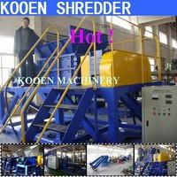 KOOEN manufacture waste plastic bottle container film bags tire tye rubber shredder shredding machine
