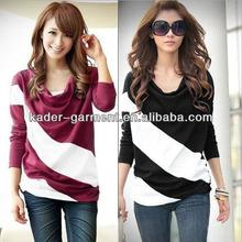 2014 guangzhou factory long sleeve women's t shirt with contrast color