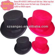 Small wholesale new 7.5cm wool hair cap fedora felt mini woman/girls headwear 100% wool felt hats&caps/fashion accessories