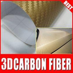 Top quality 3D golden excellent carbon fiber\car decal