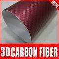 Top calidad 3d vino rojo de fibra de carbono del coche vinyl\pvc de madera del grano de la película para la decoración