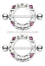 2pcs Nipple Ring Round Nipple Shield with Pink Gems