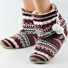 GCE024 Crochet with faux fur soft sole women ski boot slippers
