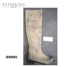 2014 New Designer 2014 rivet long Boots Wholesaler Black Low Heel long leg latex boots for crossdresser