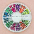 2014 super brillante 3d uñas accesorios de arte fore decoración uñas caja de la rueda conjunto, fn-155