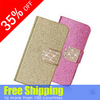 2014 China New Product Glitter Shining Diamond Hot Selling leather Wallet Case For iPhone 5/5S