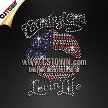 Custom hot fix crystal red lip t shirt rhinestone motif design