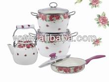 Enamel cookware set ,kitchentools,teapot,frying pan set