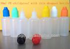 30ml PE e liquid empty bottles childproof cap manufacturer half transparent no leak