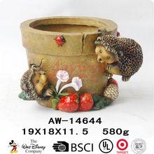 Hedgehog flower pots garden ornament