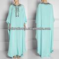 La mujer china arábica ropa maxi vestido caftán de gasa vestido con cuentas( ntf04095)