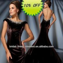 Hot Sale Long Beaded Cap Sleeve Sexy Open Back Black Velvet Evening Dress