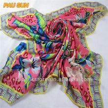 Fashion printed colorful square cashmere wool pashmina shawl wrap scarf