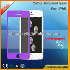 High Clear Colour Tempered Glass Screen Protector For Iphone5