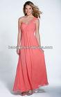 One-shoulder Peach Chiffon bridesmaid dress