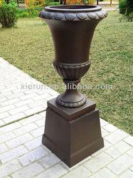 Fiberglass Antique Faux European Urn Plant Pot With Base (YF-2012066)