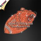Custom football rhinestone motif hot fix glitter motif design