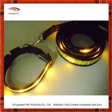 2015 flashing led dog collar and leash set with bone printing