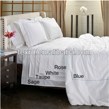 Deluxe Design 100% Cotton 80S Sateen Plain White 5 Star Hotel Bed Linen Set