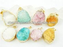 CH-ZAP0132 multicolor druzy pendant,fashion necklace and earring pendant jewelry charm,hot delicate druzy quartz stone pendant