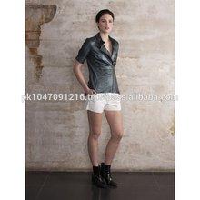 Women Metallic Leather Shirt