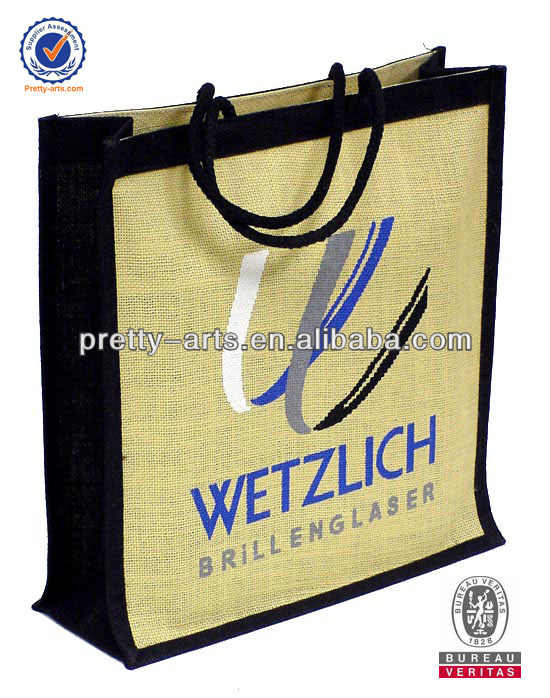 new fashion cheap good quality customized logo branded jute bag wholesale