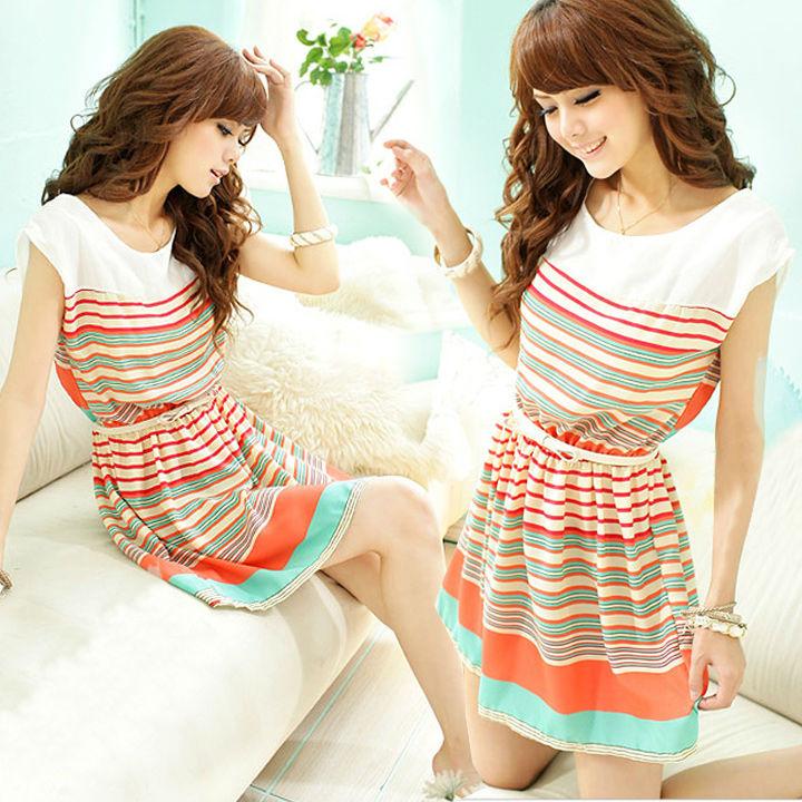 السيدات المشارب الملونة الجديدة تصميم فستان ميني bowknot حزام المرأة فساتين clubwear