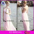 2014 fornecedor china frisado chiffon manga cap venda querida rosa fosco ocasião especial vestido de noite