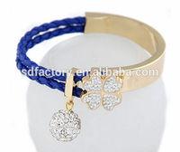 Elegant four-leaf clover feature crystal rhinestone fake leather beautiful bracelet&bangles for lady