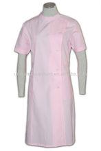 Pink Short Sleeve Nurse Long Coat Uniform Ladies Lab Coat Pink