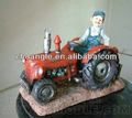 Resina agricultor carro dos desenhos animados, agricultor figura dos desenhos animados