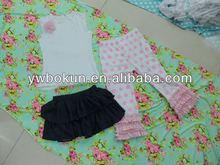 children clothing sets factory latest design kids girls sets in dress cotton tank top&leggings lovely denim tutu skirts sets