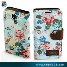 alibaba china elegant rose image flower leather mobile phone cover for galaxy s4